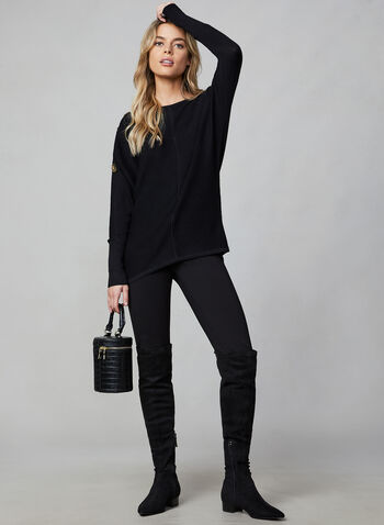 Ribbed Dolman Sleeve Sweater, Black,  long sleeves, knit, ribbed, dolman sleeves, buttons, fall 2019, winter 2019
