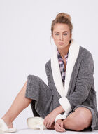 Kathy Ireland - Contrast Trim Bathrobe, Grey, hi-res