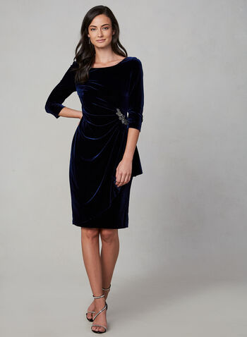Alex Evenings - Draped Velvet Dress, Blue, hi-res,  fall winter 2019, long sleeves, 3/4 sleeves, velvet, stretchy, scoop neck, evening dress, cocktail dress