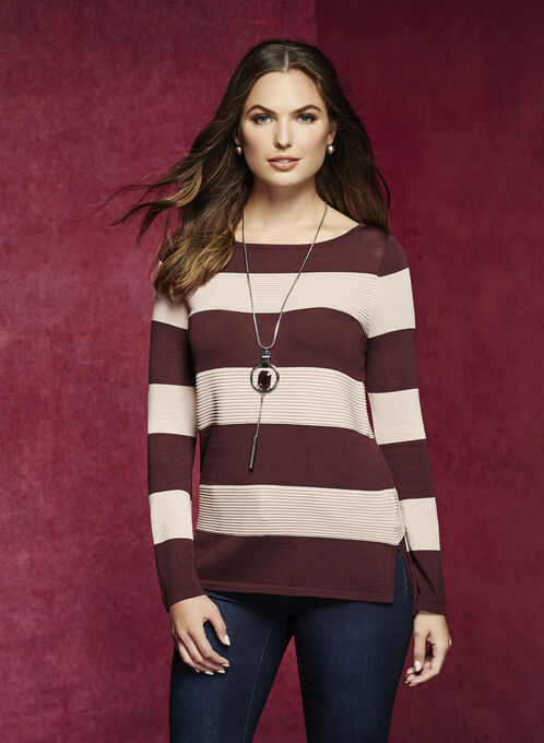 Bell Sleeve Stripe Print Sweater, Red, hi-res