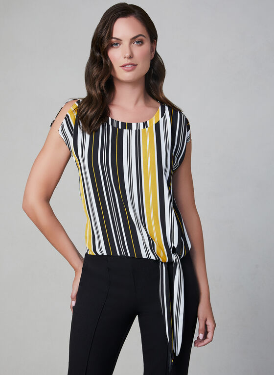 Stripe Print Tie Detail Top, Black, hi-res