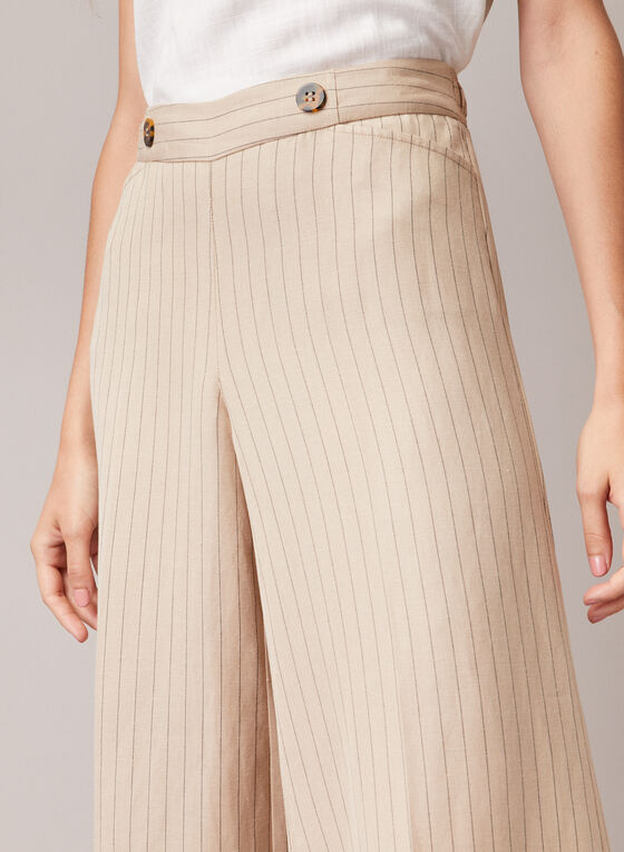 Striped Linen Blend Gaucho Pants, White