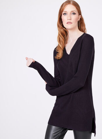 Long Sleeve Knit Tunic, Purple, hi-res