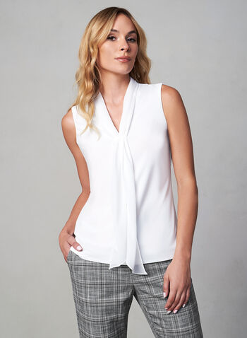 Foulard Collar Chiffon Blouse, Off White,  blouse, top, canada, sleeveless, chiffon, foulard, v-neck, fall 2019, winter 2019