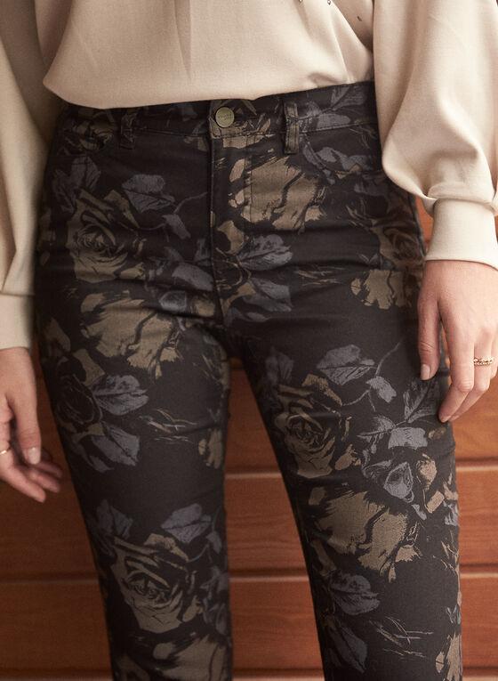 Floral Print Slim Leg Jeans, Black