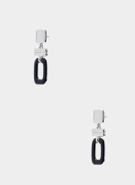 Geometric Drop Earrings, Black