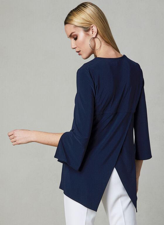 Joseph Ribkoff - Blouse manches ¾ à détail zip, Bleu