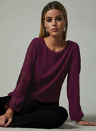 Long Sleeve Cutout Blouse, Red, hi-res