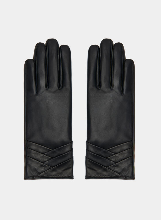 Sheepskin Leather Gloves, Black