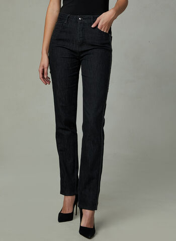 Simon Chang - Faux Leather Trim Straight Leg Jeans, Black, hi-res
