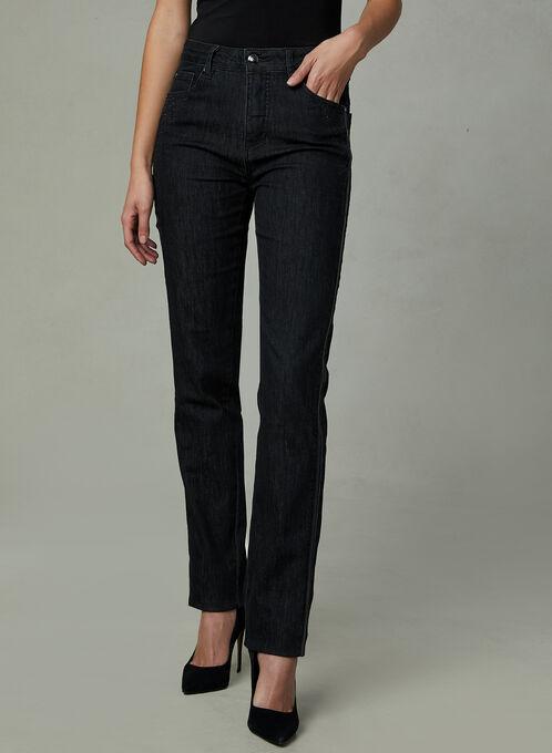 Simon Chang - Faux Leather Trim Straight Leg Jeans, Black, hi-res
