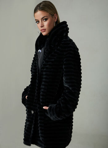 Novelti - Reversible Faux Fur Trench Coat, Black, hi-res