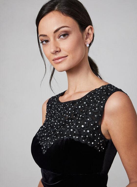 Alex Evenings - Embroidered Velvet Dress , Black