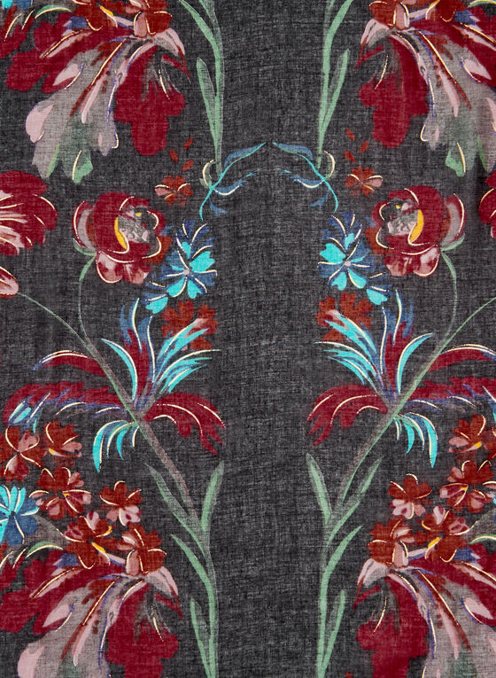 Fringed Floral Print Scarf, Black, hi-res