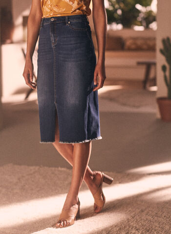Frayed Hem Denim Skirt, Blue,  skirt, straight, denim, pockets, slit, frayed hemline, spring summer 2020