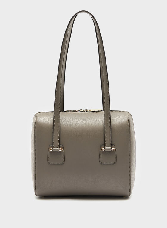 Céline Dion -  Genuine Pebble Grain Leather Tote, Brown, hi-res