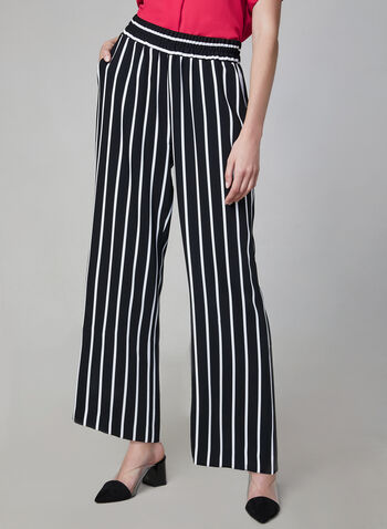 Stripe Print Wide Leg Pants, White, hi-res,  Spring 2019, culottes, Canada, stripes, striped, elastic waist, pull-on pants, wide leg, palazzo,