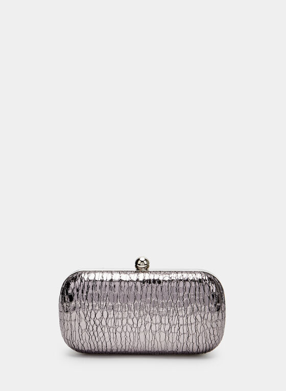 Metallic Snake Print Clutch, Grey, hi-res