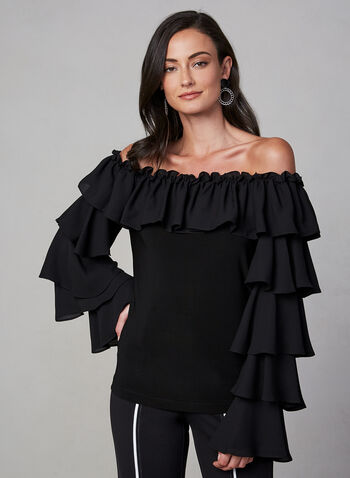 Joseph Ribkoff -  Ruffle Sleeve Top, Black, hi-res,  fall winter 2019, crepe, ruffle sleeves, off-the-shoulder