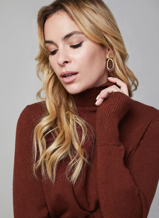 Mock Neck Sweater, Red