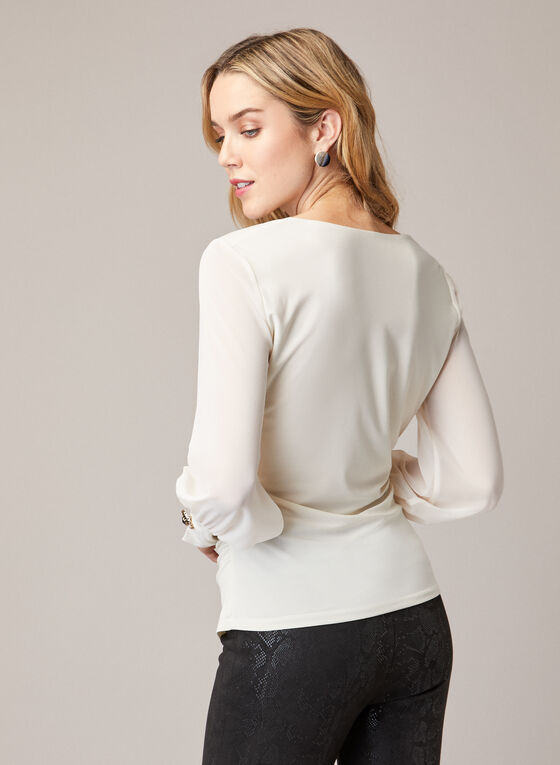 Chiffon Sleeve Faux Wrap Blouse, Off White