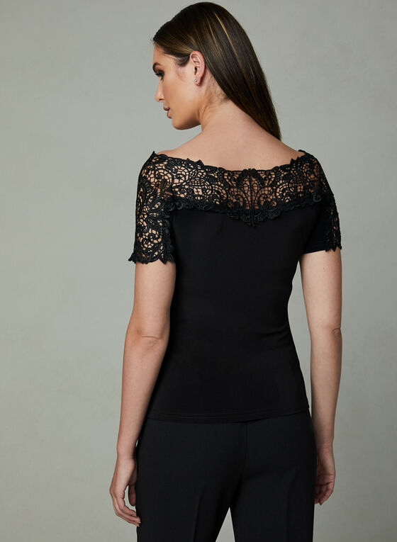 Joseph Ribkoff – Lace Yoke Short Sleeve Blouse, Black, hi-res