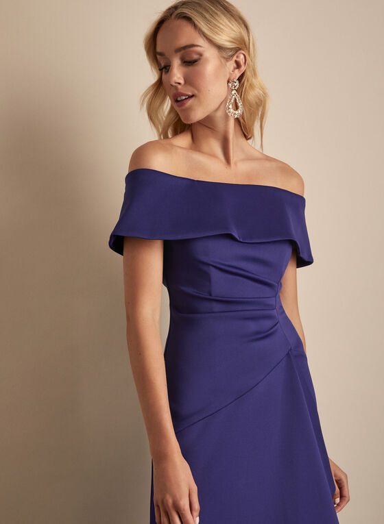 BA Nites - Off-the-Shoulder Drape Dress, Blue