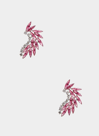 Stone & Crystal Earrings, Pink,  earrings, stone, crystals, crescent, two tone, spring summer 2020