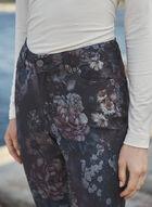 Jean à jambe étroite à motif floral, Noir