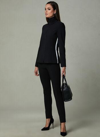 Veste zippée à bandes contrastantes, Noir, hi-res