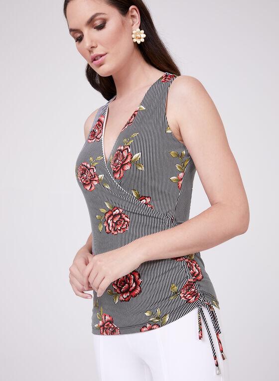 Floral Print Faux Wrap Top, Black, hi-res