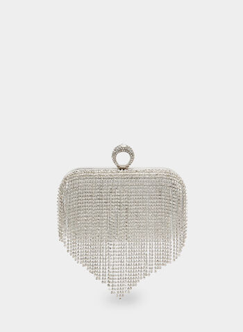 Crystal Cascade Clutch , Silver,  clutch, crystals, crystal clutch, metallic, metallic clutch, evening clutch, fringes, fall 2019, winter 2019