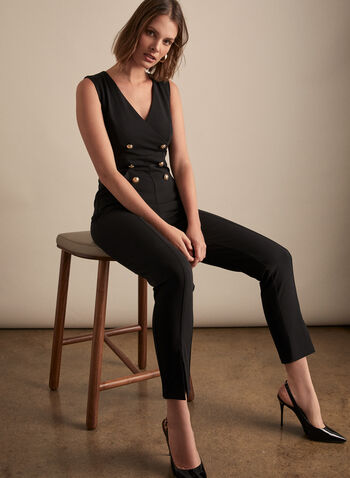Joseph Ribkoff - Button Detail Jumpsuit, Black,  spring summer 2020, crepe fabric, button details, sleeveless, V-neck