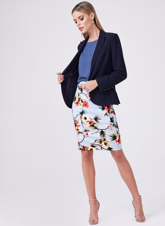 Floral Print Pencil Skirt, Blue, hi-res