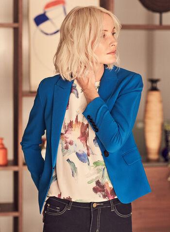 Notch Collar Topstitch Detail Blazer, Blue,  jacket, blazer, notch collar, topstitch, buttons, flap pockets, long sleeves, spring summer 2020