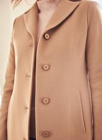 Mallia - Manteau en mélange de laine et cachemire , Brun,  automne hiver 2020, laine, cachemire, manteau, fait au canada, Mallia, col cranté, simple boutonnage