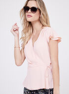 Short Sleeve Wrap Around Blouse, Pink, hi-res