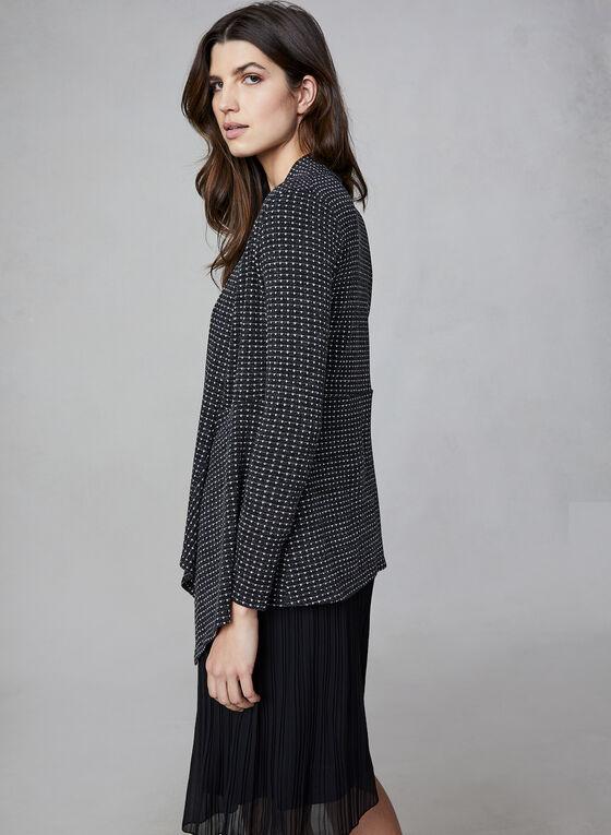 Cardigan ouvert en tricot chiné , Noir