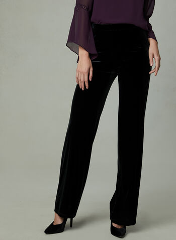 Velour Wide Leg Pants, Black, hi-res