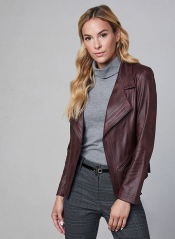 Vex - Faux Leather Jacket, Purple,  jacket, blazer, long sleeves, fall winter 2019, faux leather