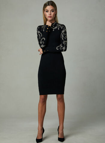 Frank Lyman - Embroidered Dress, Black, hi-res