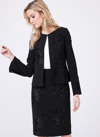 T Tahari - Embroidered Crepe Blazer , Black, hi-res