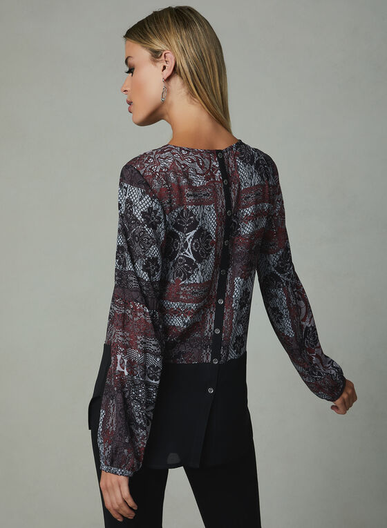 Vex - Lace Print Blouse, Black, hi-res