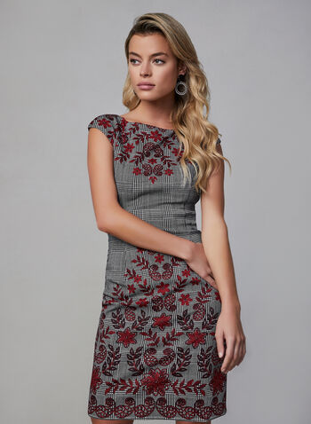 Plaid & Floral Print Dress, Black, hi-res,  fall winter 2019, plaid print, knee-length, sheath