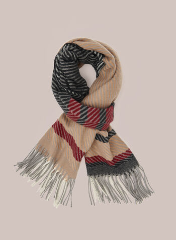 Plaid Print Fringed Scarf, Black,  fall winter 2020, scarf, plaid, print, pattern, fringed, fringe, acrylic