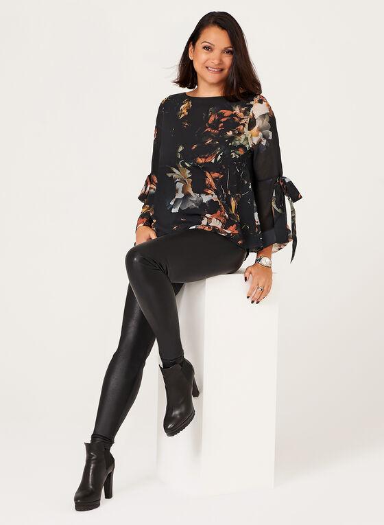 Blouse manches longues avec nœud et motif floral, Noir, hi-res