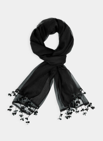 Lightweight Fringe Scarf, Black, hi-res