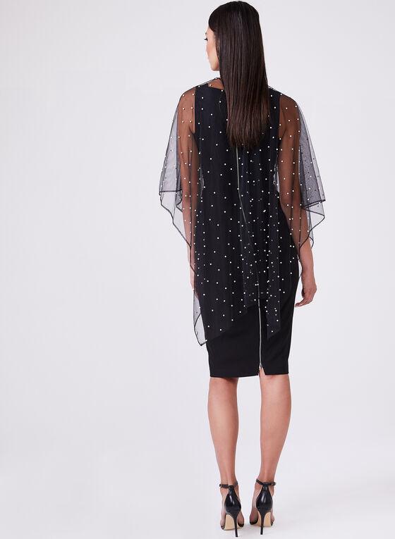 Karl Lagerfeld Paris - Pearl Embellished Open Front Poncho , Black, hi-res