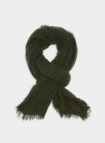 Textured Pashmina Scarf, Green,  nylon, scarf, wrap, knit, cozy, stretch, fringes, textured, fall 2019, winter 2019