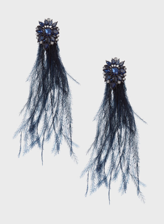 Crystal Starburst Feather Drop Earrings, Blue, hi-res